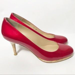 Stuart Weitzman Candy Apple Red Cork Heel Pumps